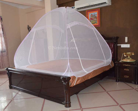 Foldable Mosquito Net For Bed - Terylene Fabric Pink