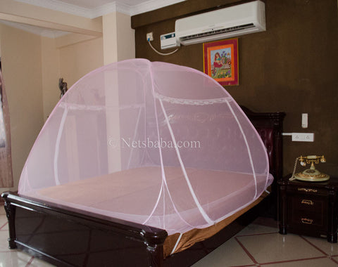 Folding Mosquito Net For Bed - Polyester Fabric Pink Variant
