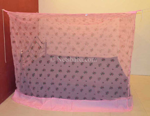 Poly Cotton Mosquito Net - Pink Printed