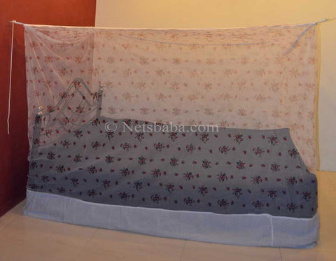 Poly Cotton Mosquito Net - White Printed