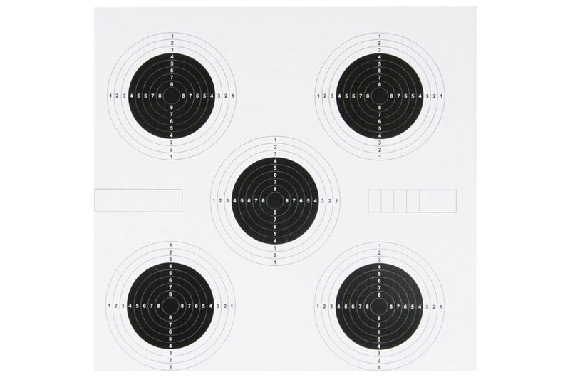 Airgun Paper Targets 100 Pack - 14cm x 14cm - 5 Circle