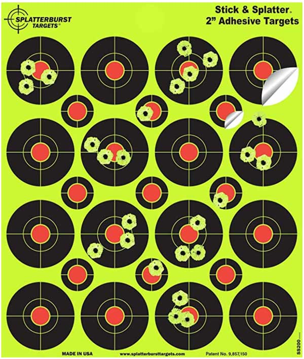 "Splatterburst Targets - 2"" Self Adhesive - 400 Targets / 25 Sheets"
