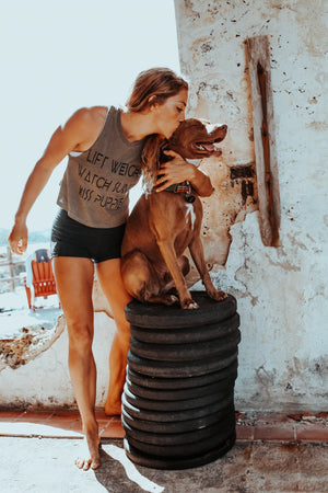 LIFT weights, WATCH sunsets, KISS puppies Crop Tank