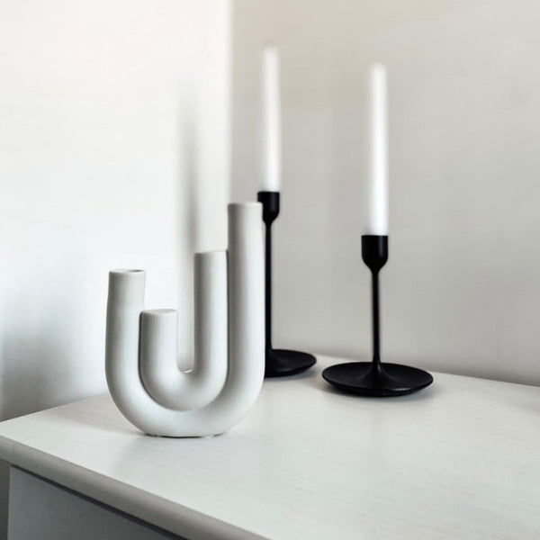 Nordic White Ceramic Candle Holders