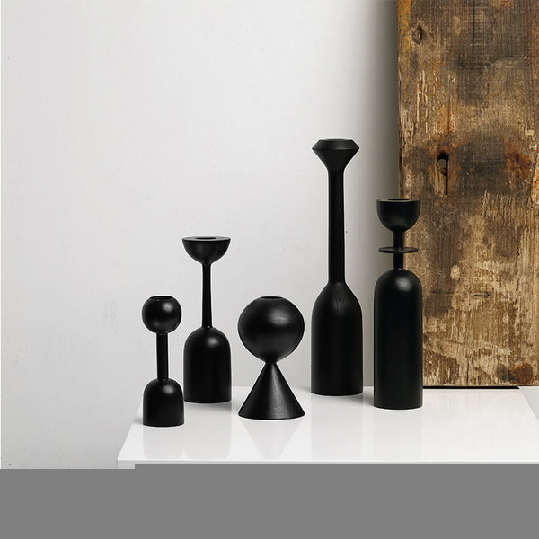 Black Wooden Candle Holders