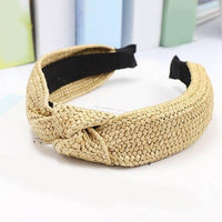 Woven Raffia Look Knot & Plain Hairband