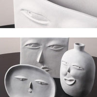 Grey Ceramic Face Vases