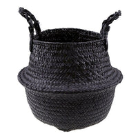 Large Black Handwoven Seagrass Belly Basket