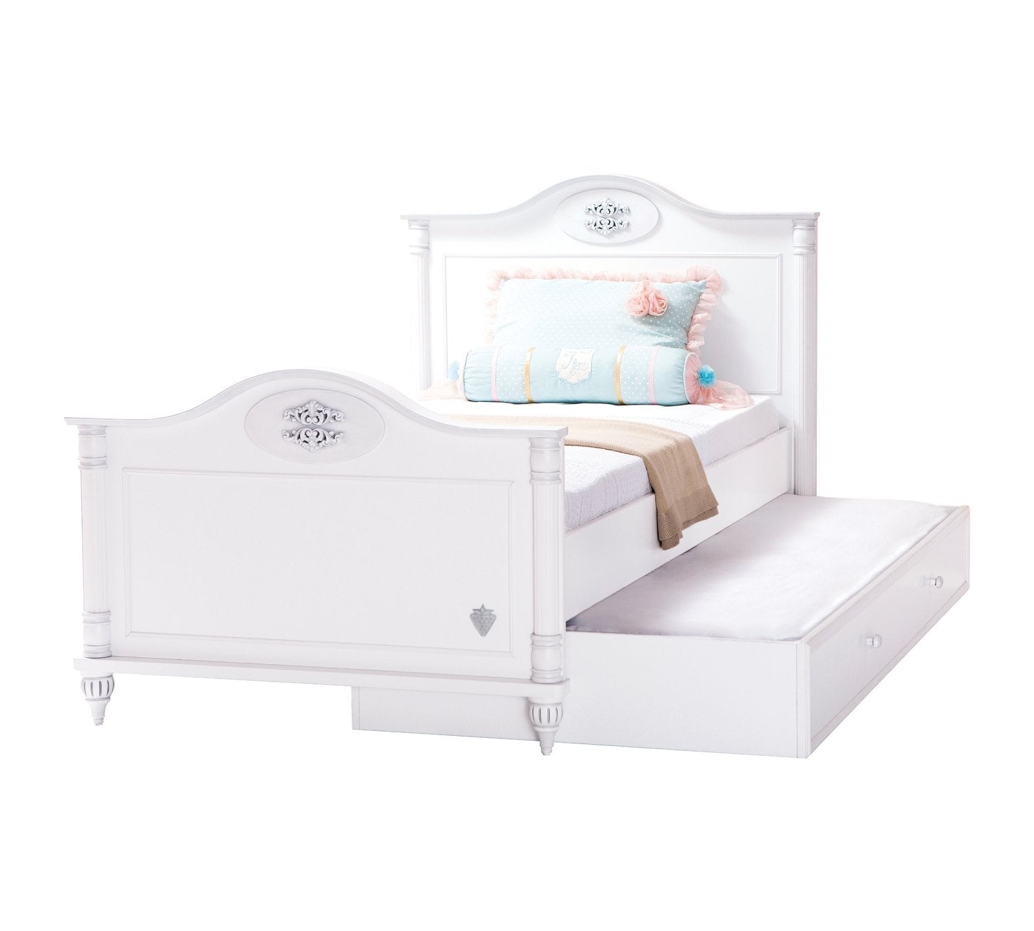 Cilek Romantic Bed with pull out drawer (120x200 Cm)