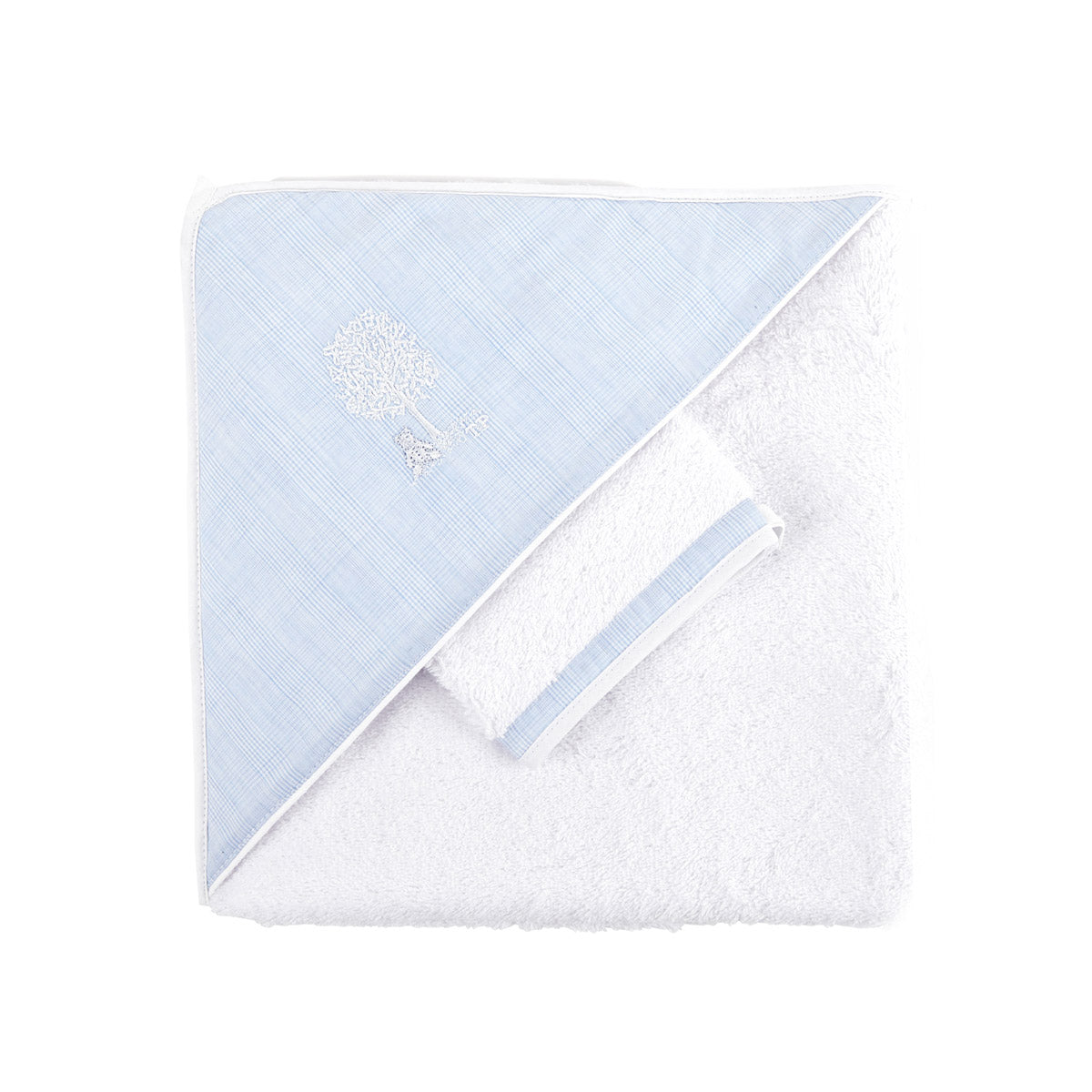 Theophile & Patachou the Hooded Towel and the Matching Glove - Sweet Blue