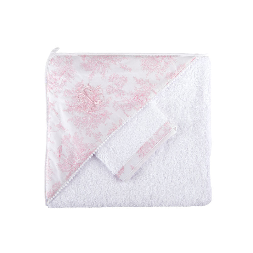 Theophile & Patachou The Hooded Towel and The Matching Glove - Sweet Pink