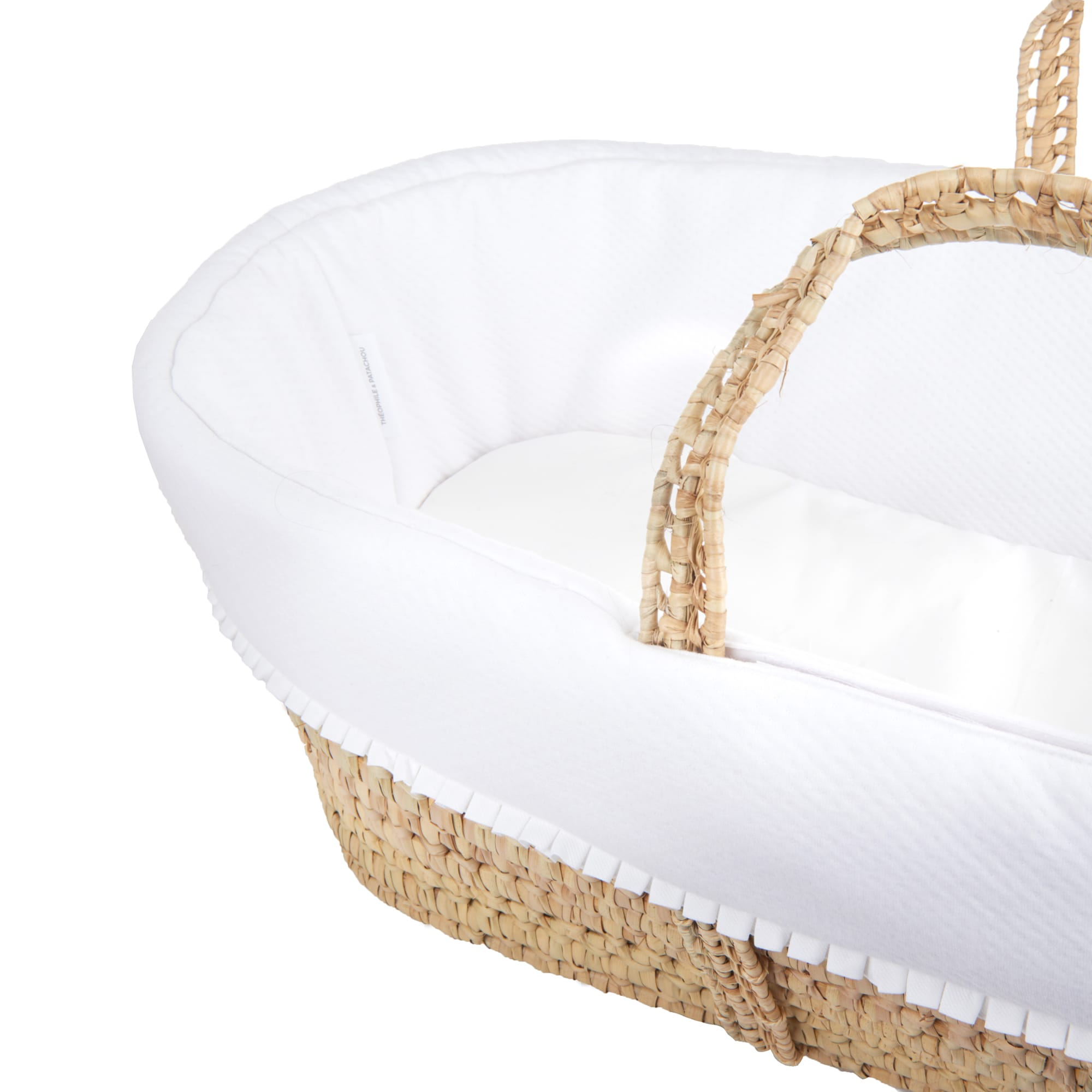 Theophile & Patachou Wicker Moses Basket Padded White With Mattress