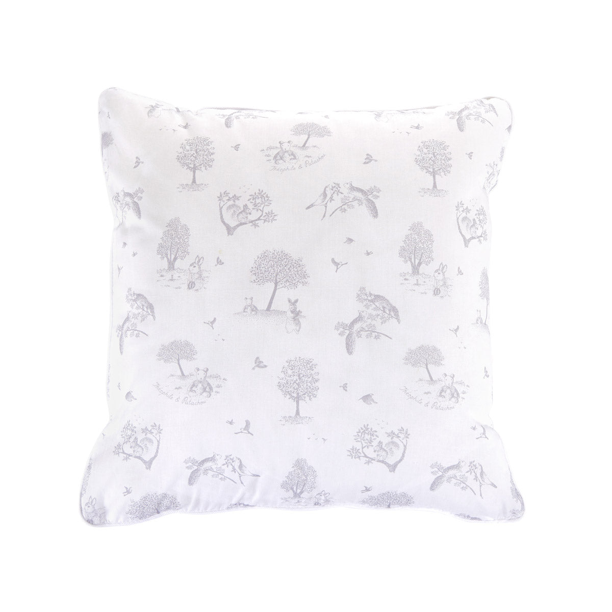Theophile & Patachou Cushion with Button - Printed Soft Grey
