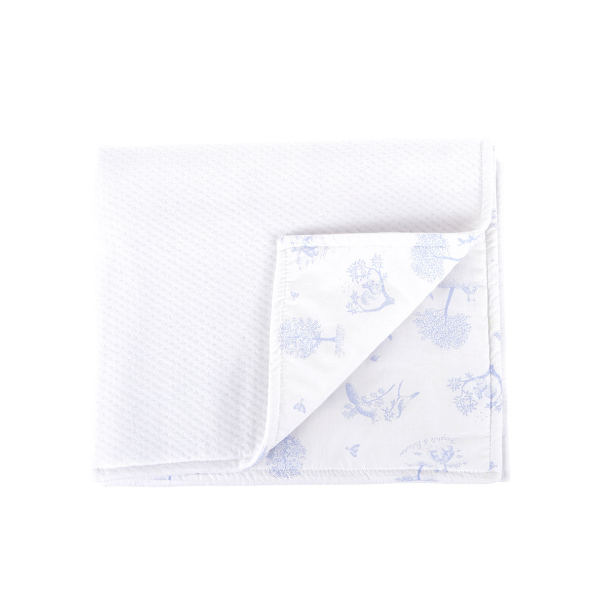 Theophile & Patachou Cradle Blanket - Sweet Blue / White