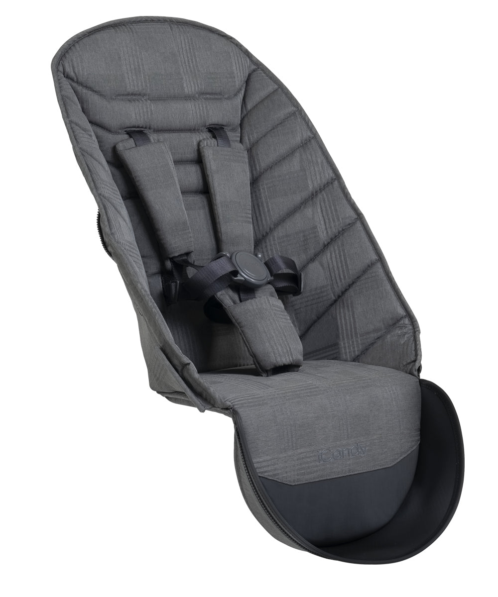 iCandy Peach 2nd Seat Fabric - Dark Grey Check