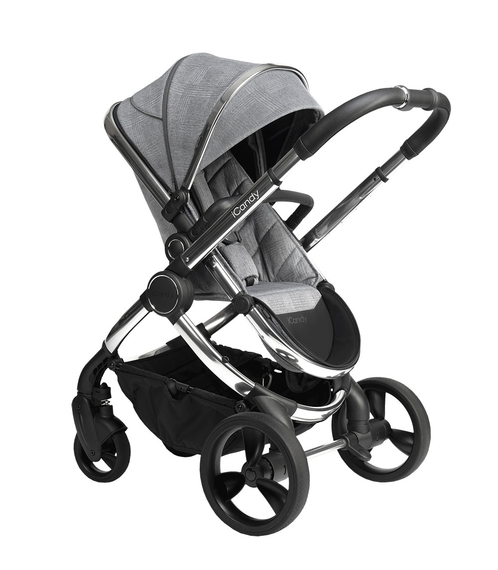 iCandy Peach Pushchair and Carrycot - Chrome Light Grey Check