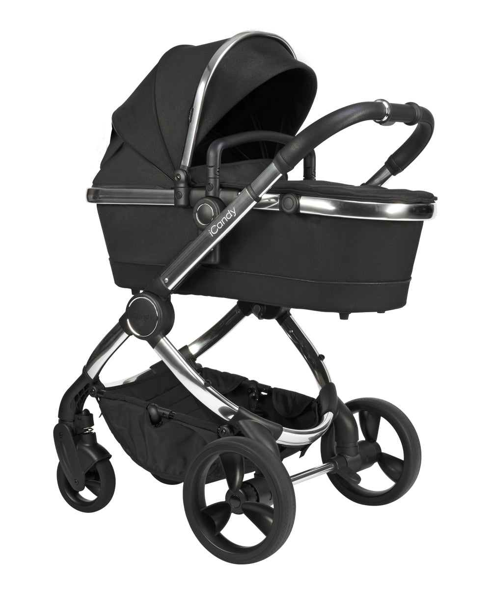 iCandy Peach Pushchair and Carrycot - Chrome Black Twill