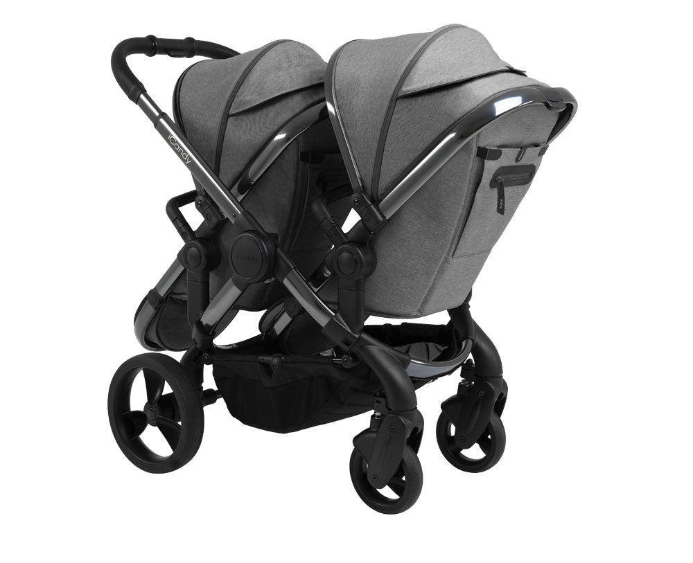 iCandy Peach Double Pushchair - Phantom Dark Grey Twill