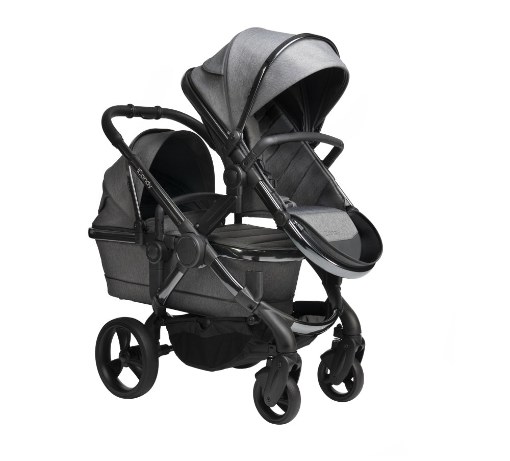 iCandy Peach Twin Pushchair - Phantom Dark Grey Twill