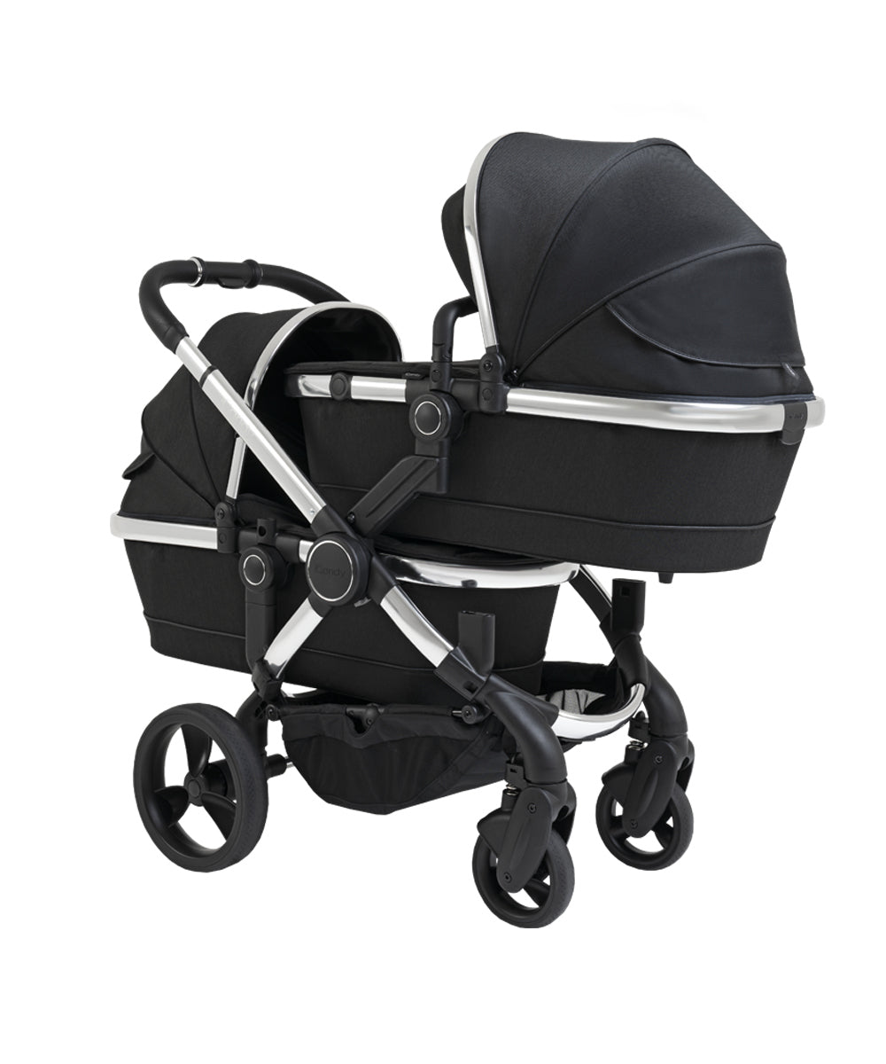 iCandy Peach Twin Pushchair - Chrome Black Twill