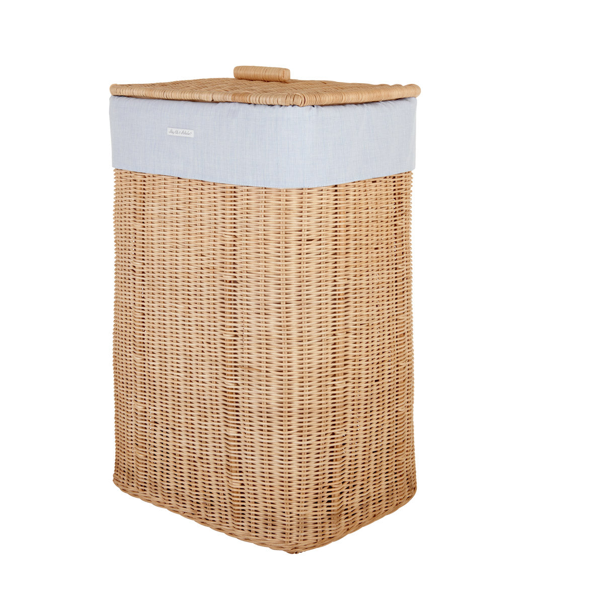 Theophile & Patachou Natural Rectangular Wicker Basket and Cover Linen - Sweet Blue