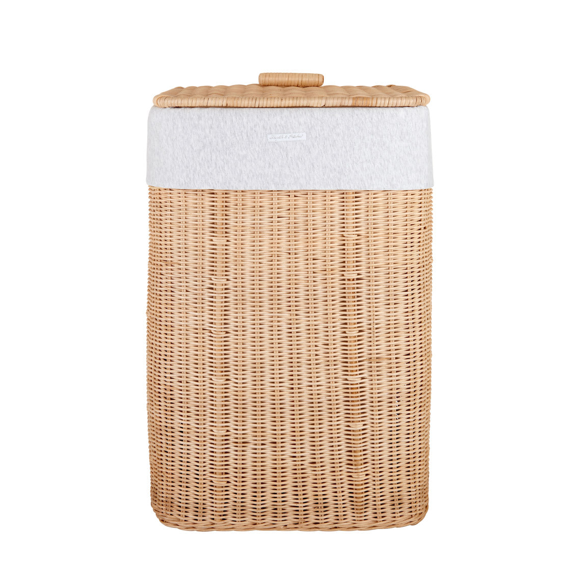 Theophile & Patachou Natural Rectangular Wicker Basket and Cover Linen - Grey