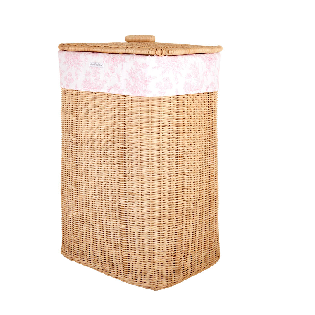 Theophile & Patachou Natural Rectangular Wicker Basket and Cover Linen - Sweet Pink