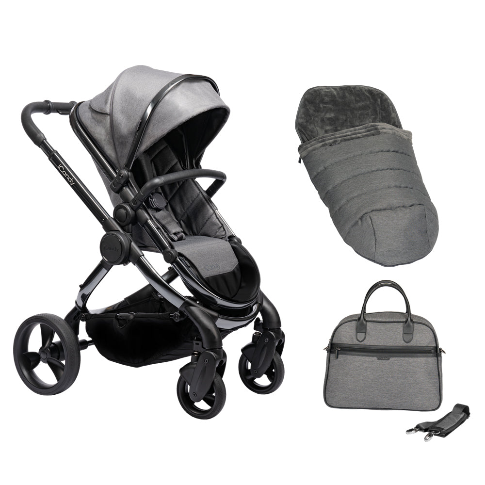iCandy Peach Pushchair and Carrycot with Bag, Duo Pod & Ride-on Board