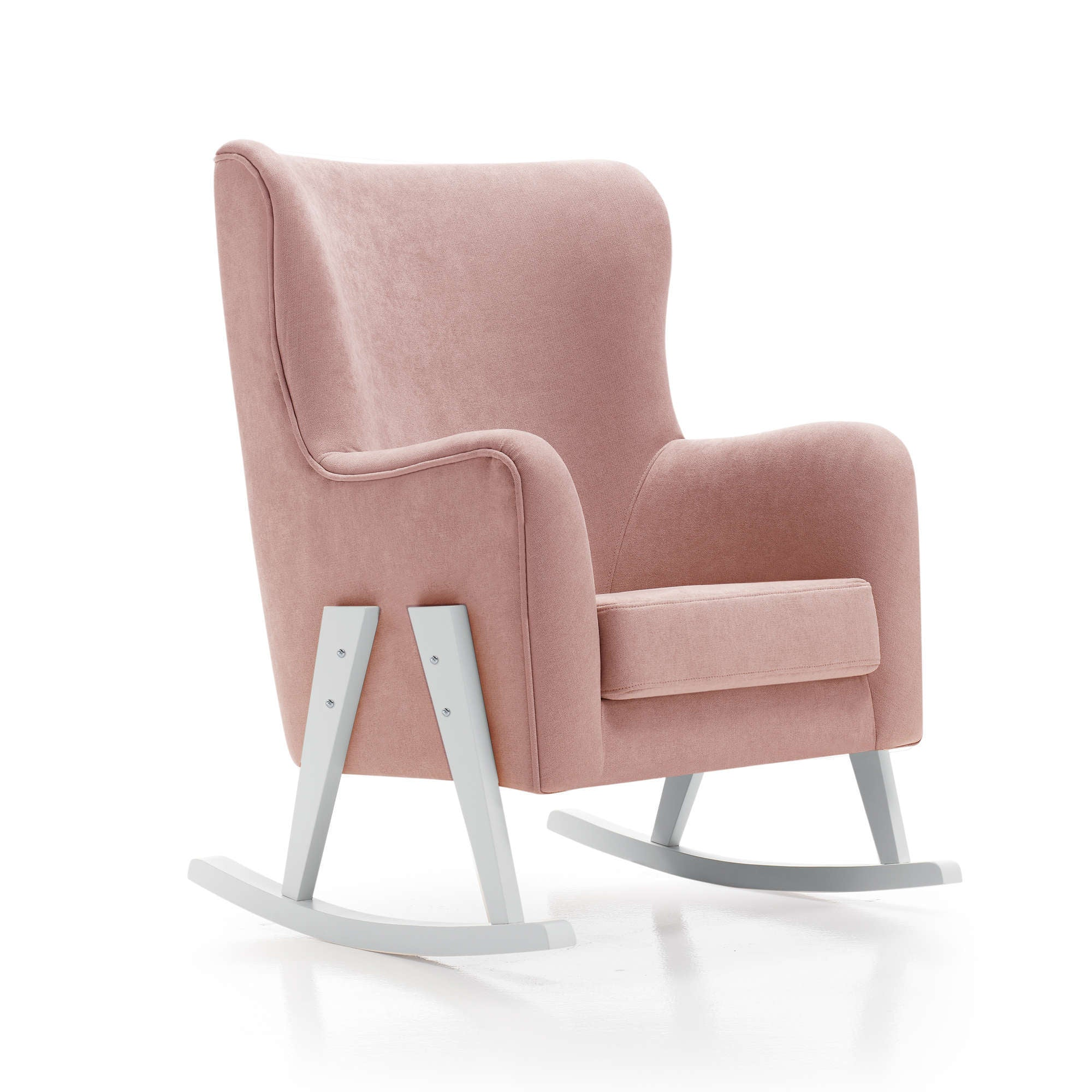 Alondra Glam Fabric Nursing Chair - Pink with White Legs