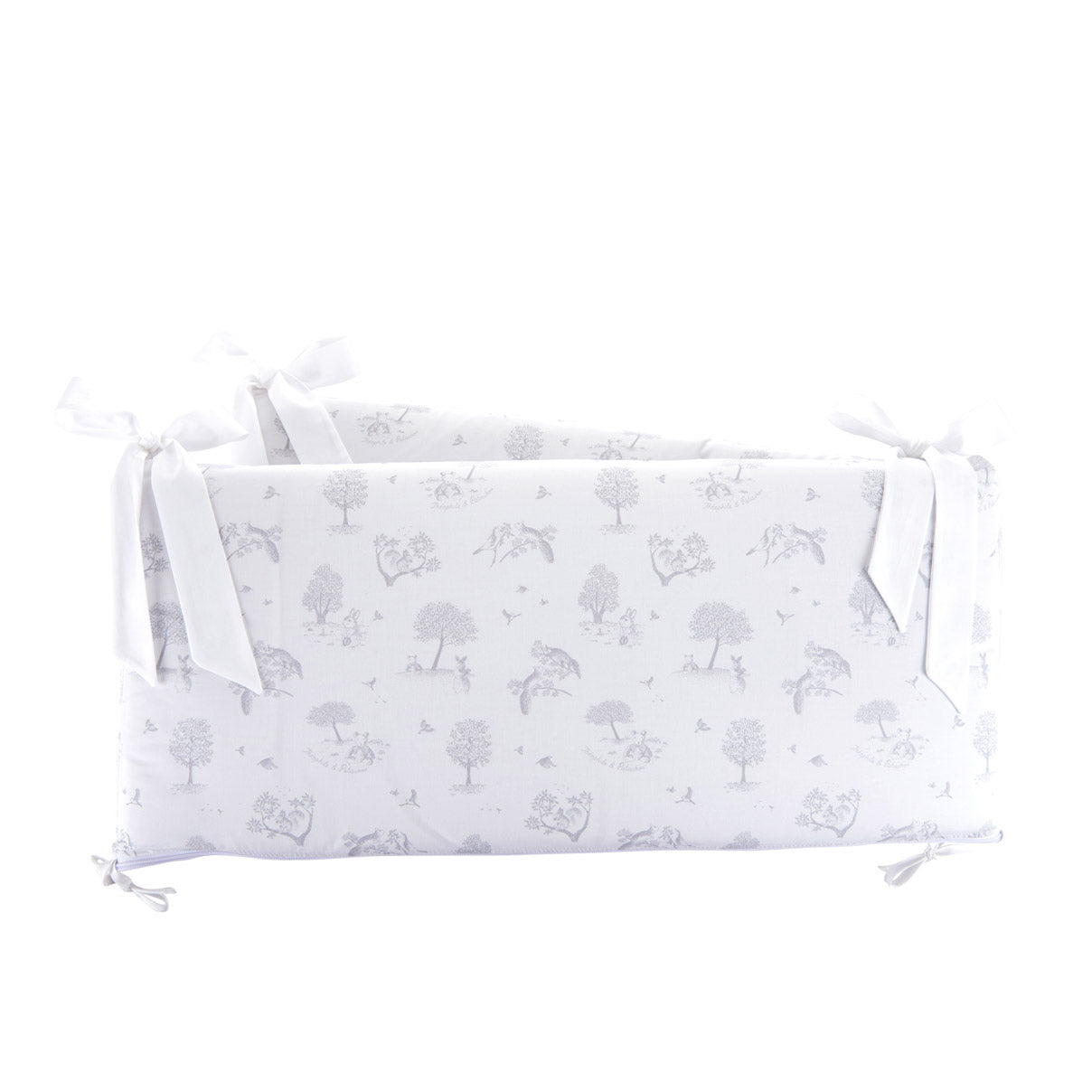 Theophile & Patachou Cot Bed Bumper 60 cm - Printed Soft Grey