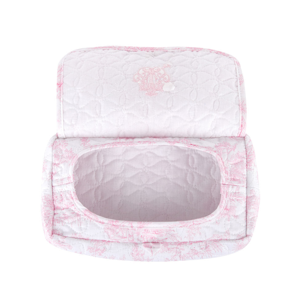 Theophile & Patachou Travel Baby Wipes Cover Quilted - Sweet Pink