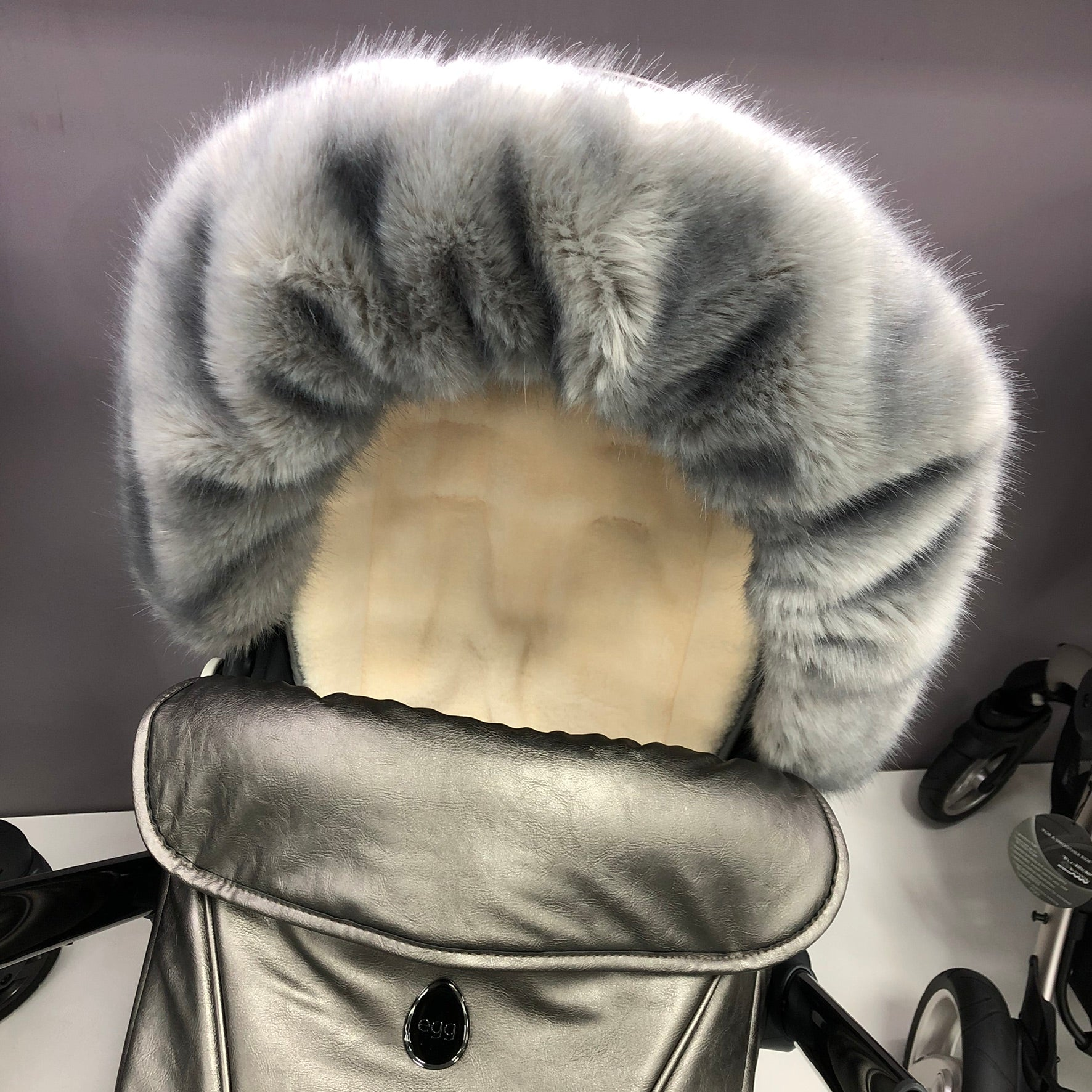 Adorable Tots Universal Hood-Mounted Fur - Grey
