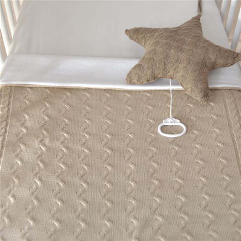 Baby's Only Cot Blanket - Cable Chenille Grey