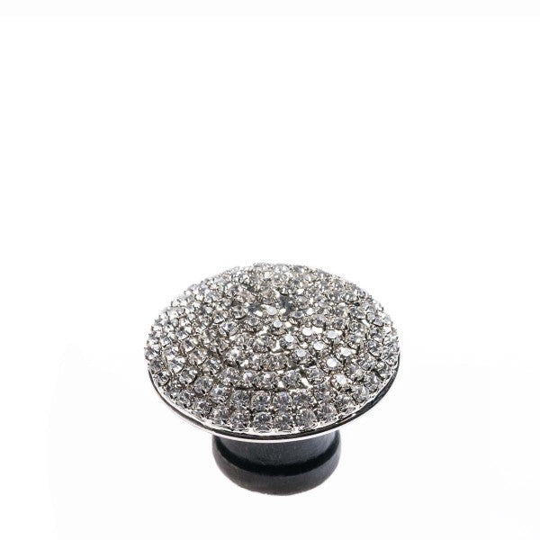 Romina Round Crystal Dome - Silver With White Stone