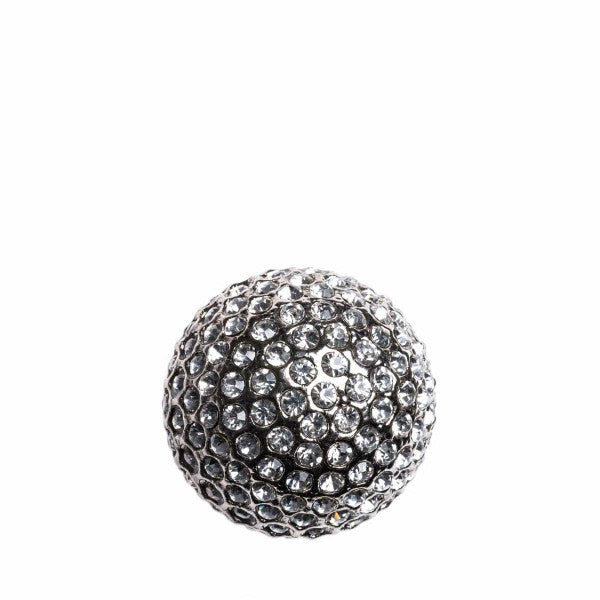 Romina Crystal & Metal Ball - Silver With White Stone