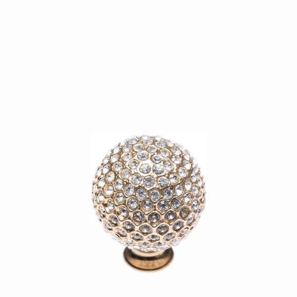 Romina Crystal & Metal Ball - Gold With White Stone