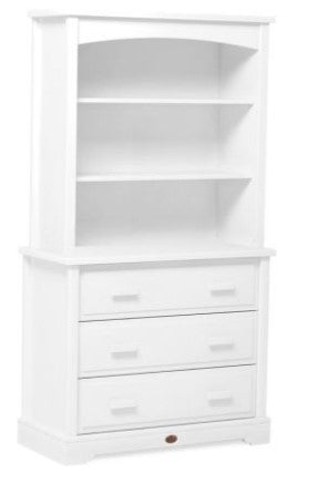 Boori Eton Convertible Plus 3 Drawer dresser Shown with Squared Changing station - White