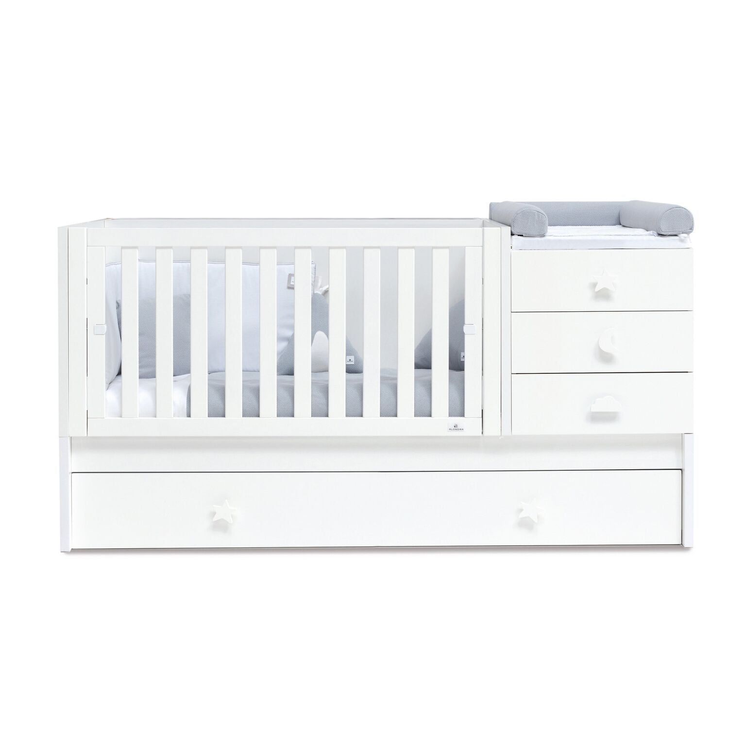 Alondra Convertible Crib Zero Bubble - White