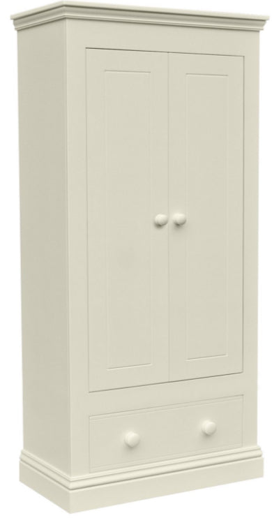New Hampton 2 Door Wardrobe With 1 Drawer - Ivory