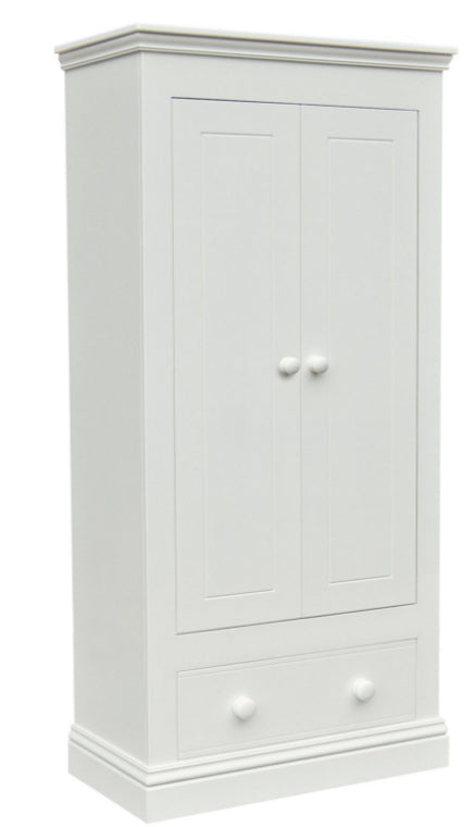 New Hampton 2 Door Wardrobe With 1 Drawer - White