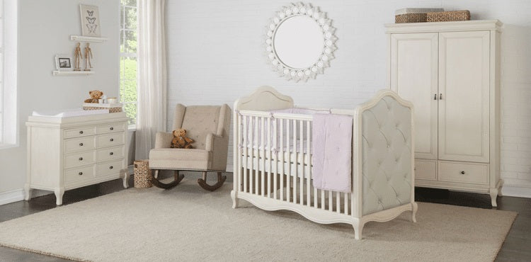 Teddy One Roseberry Kids Set of 3 Pcs - Cot Bed (Wevet Finish), Dresser and Wardrobe