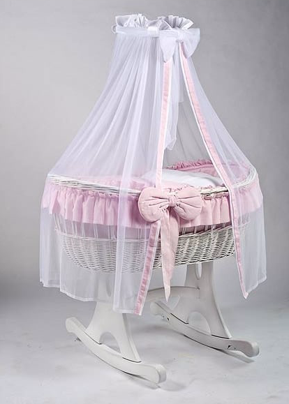Adorable Tots Ophelia White Wicker Cradle - Rocker