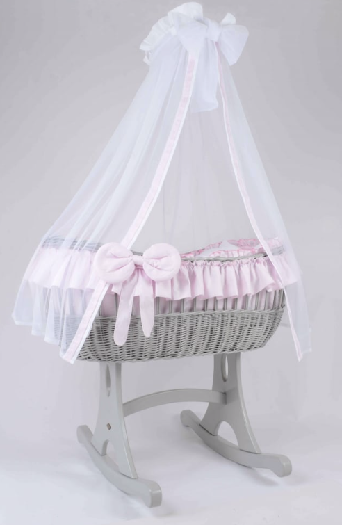 Adorable Tots Ophelia Grey Wicker Cradle - Rocker