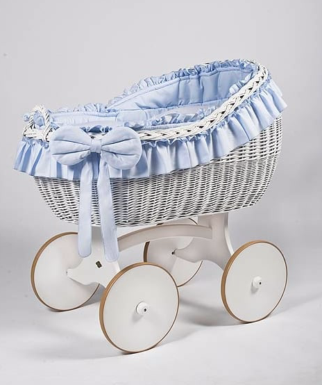 Adorable Tots Bianca White Wicker Cradle With Solid Wheels