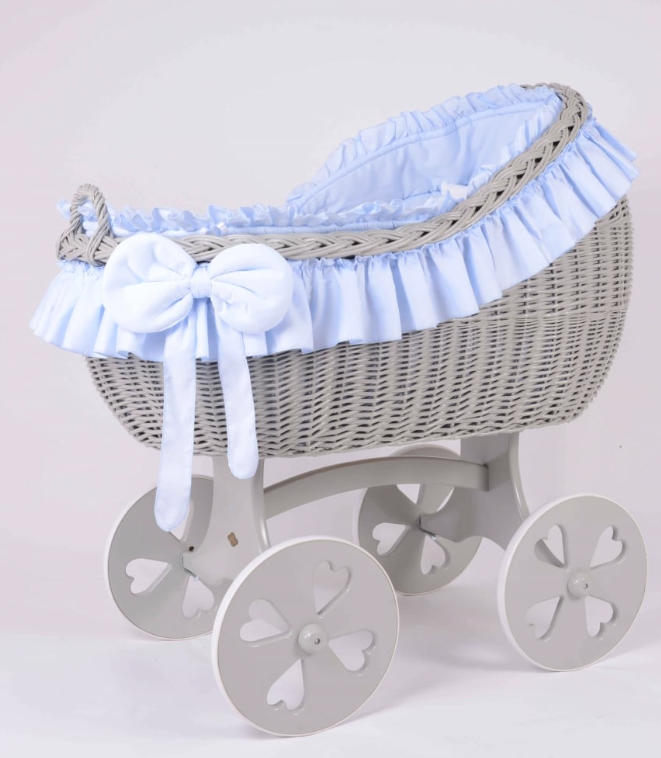 Adorable Tots Bianca Grey Wicker Cradle With Heart Wheels