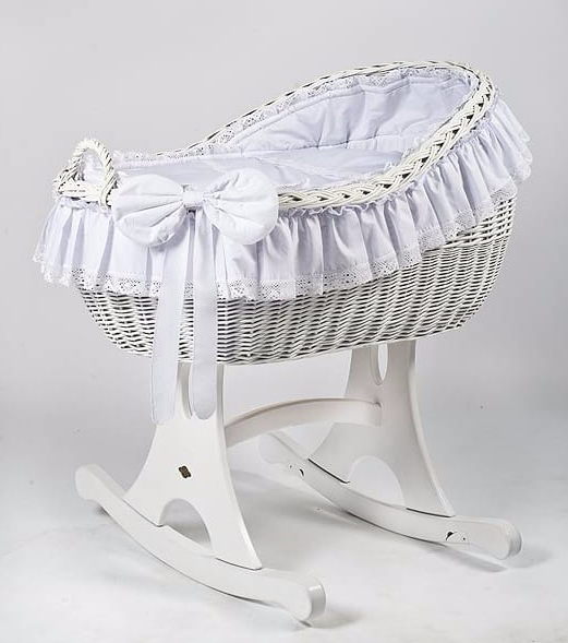 Adorable Tots Bianca White Wicker Cradle With Rocker