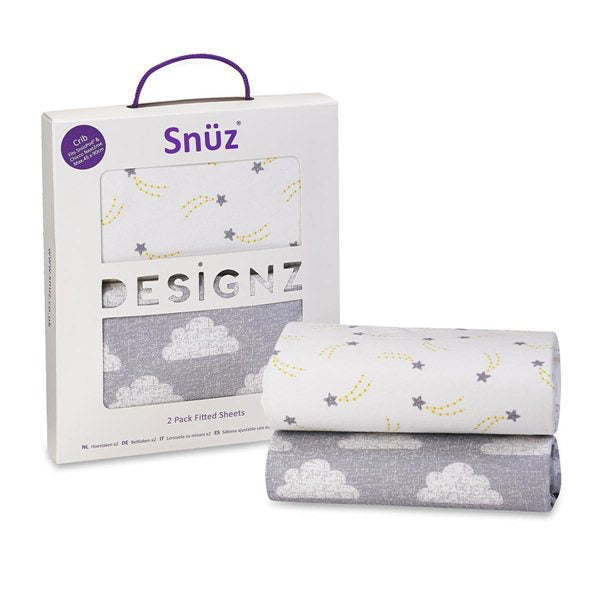 Snuz Crib 2 Pack Fitted Sheets – Cloud Nine