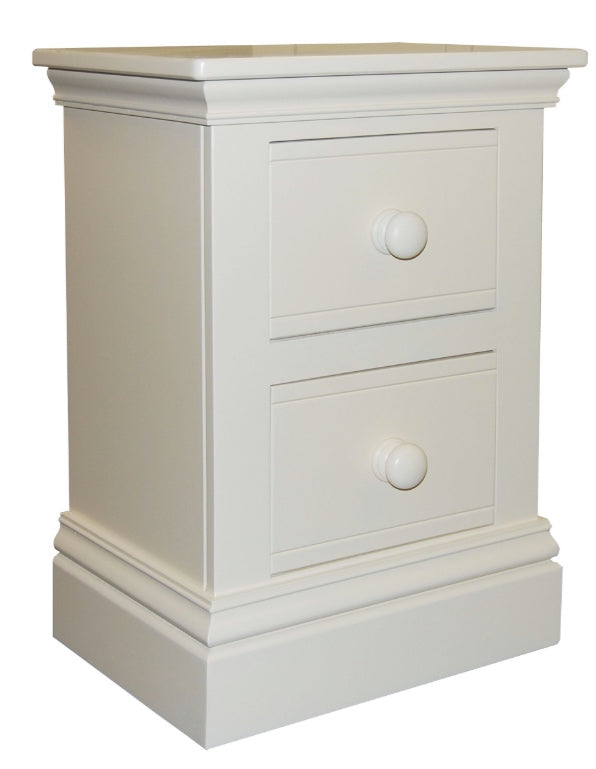 New Hampton 2 Drawer Bedside Table - White