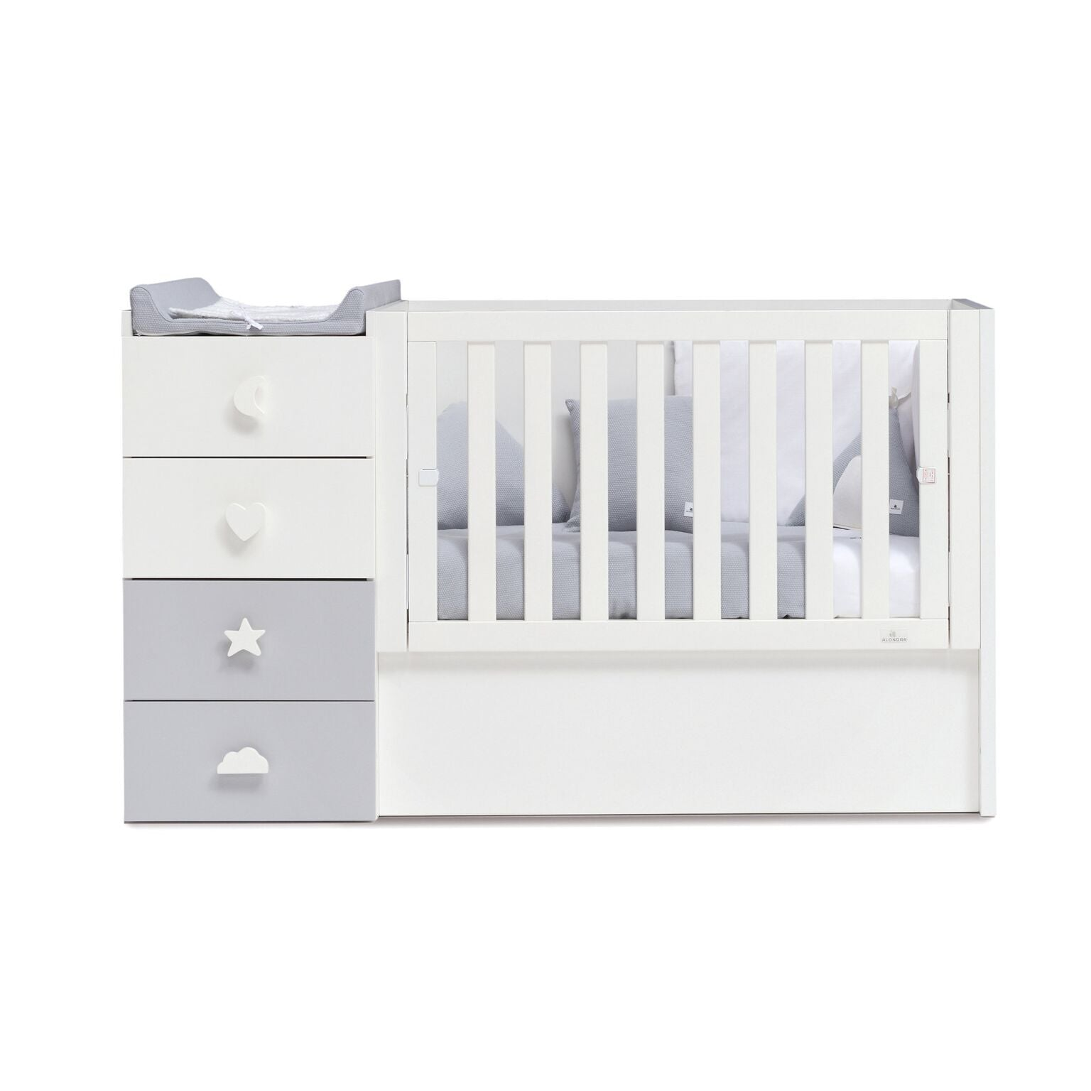 Alondra Convertible Crib Just Bubble - Grey