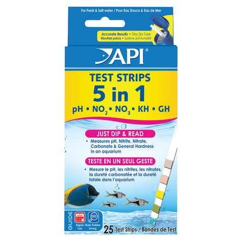 API 5 in 1 Aquarium Test Strips - 25 pk